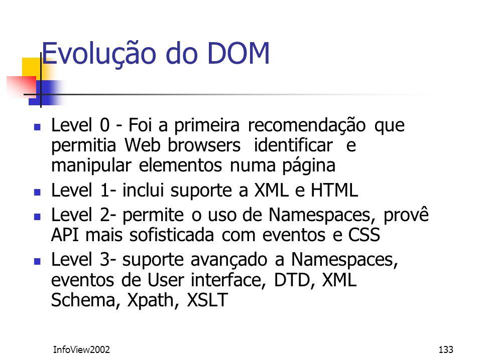 Evolução do DOMLevel 0 - Foi a primeira recomendação que permitia Web browsers identificar e manipular elementos numa página.