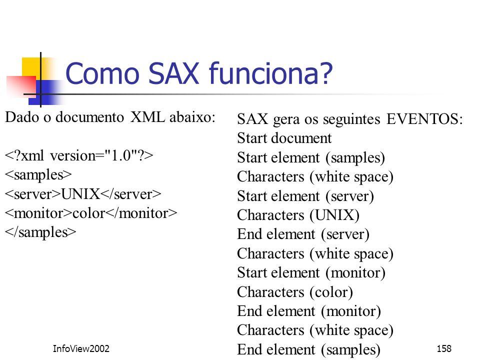 Como SAX funciona Dado o documento XML abaixo: