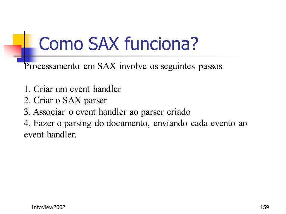 Como SAX funciona Processamento em SAX involve os seguintes passos