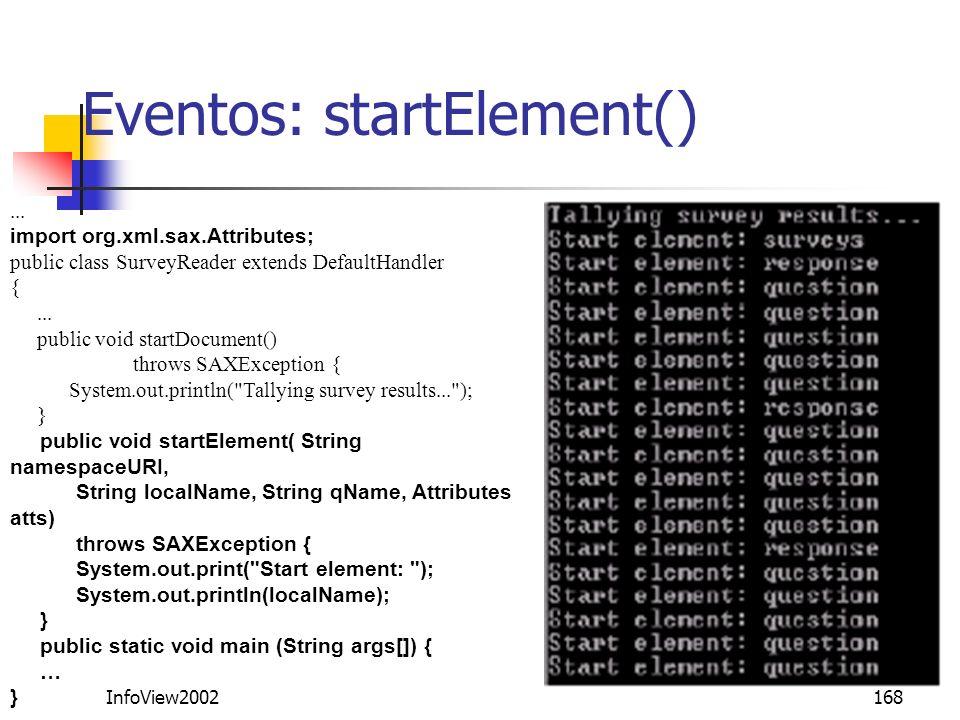 Eventos: startElement()