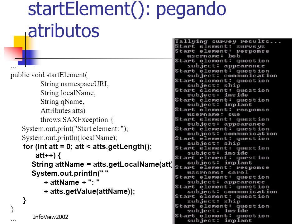 startElement(): pegando atributos