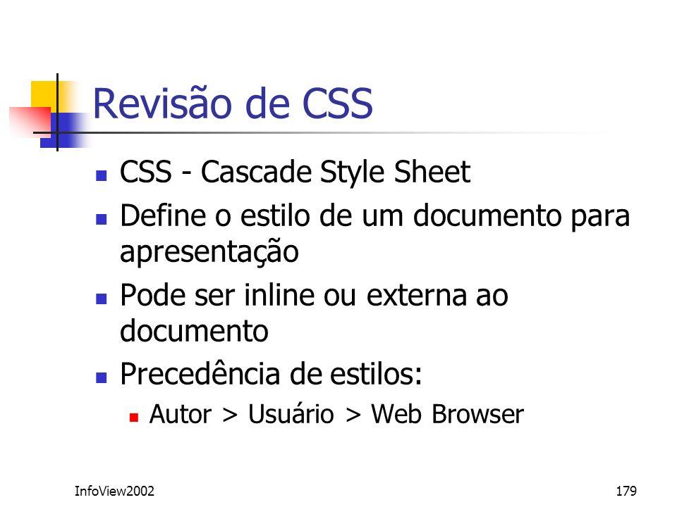 Revisão de CSS CSS - Cascade Style Sheet