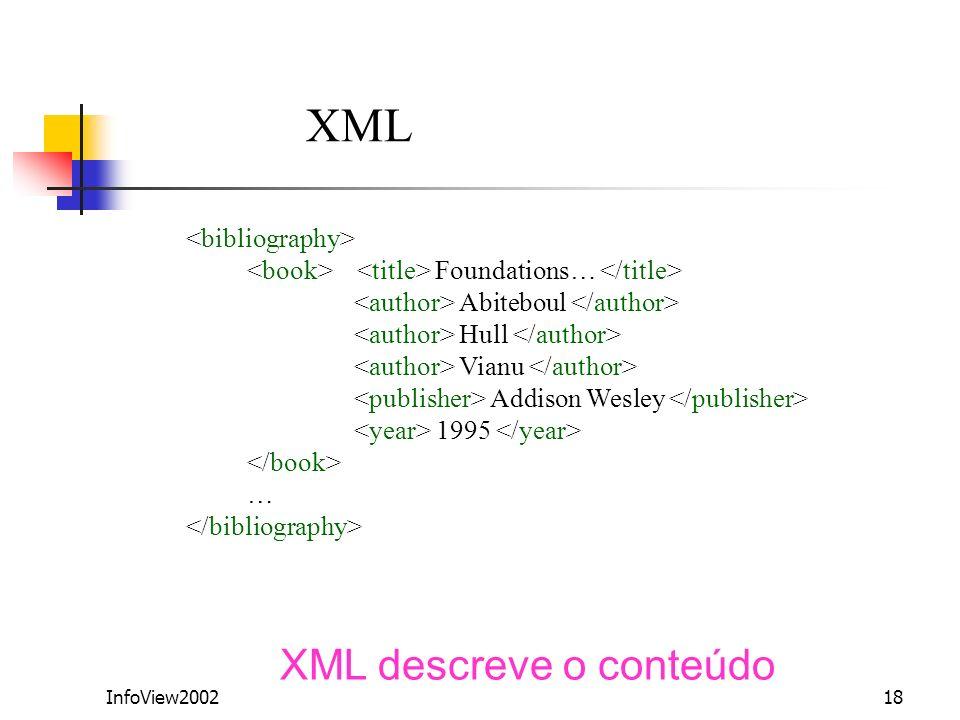 XML XML descreve o conteúdo <bibliography>