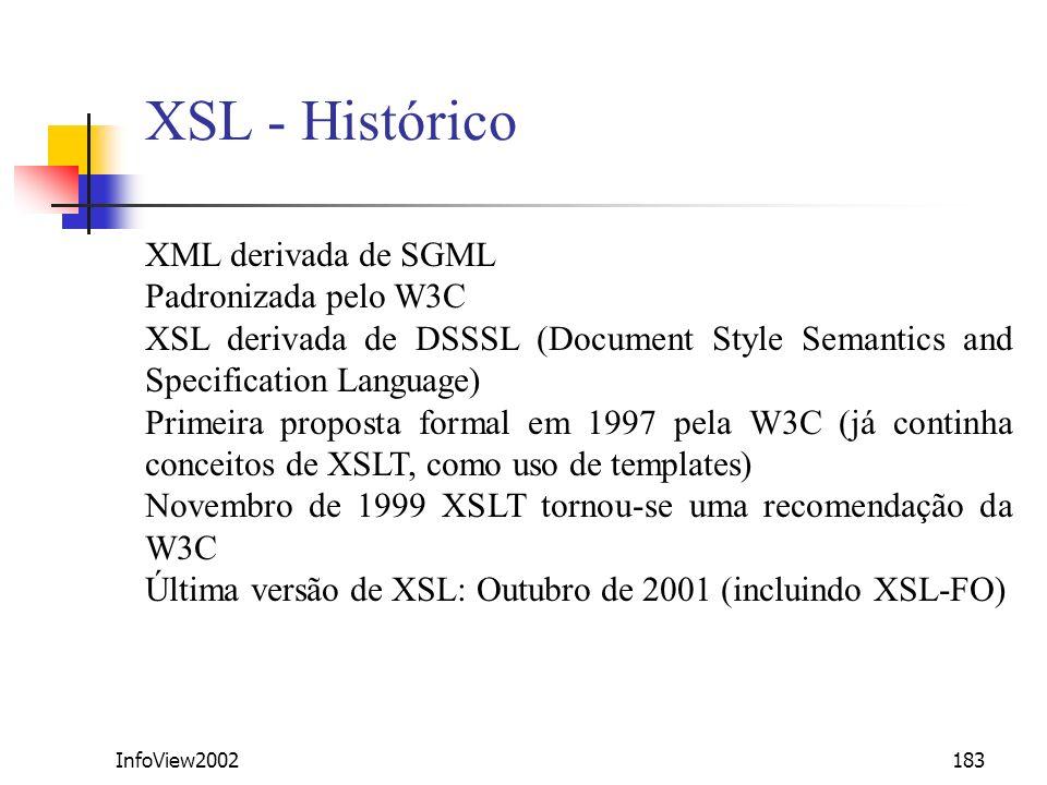 XSL - Histórico XML derivada de SGML Padronizada pelo W3C