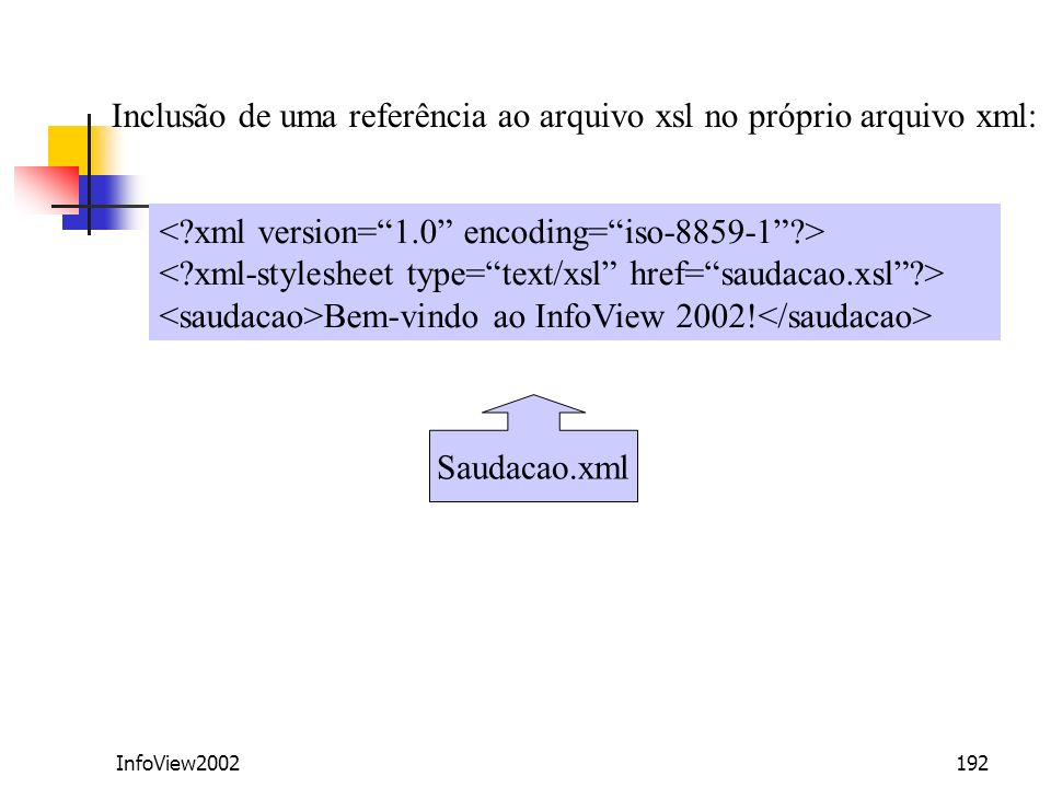 Inclusão de uma referência ao arquivo xsl no próprio arquivo xml: