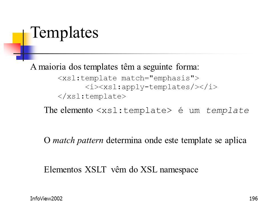 Templates A maioria dos templates têm a seguinte forma: <xsl:template match= emphasis > <i><xsl:apply-templates/></i> </xsl:template>