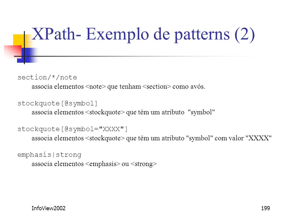 XPath- Exemplo de patterns (2)