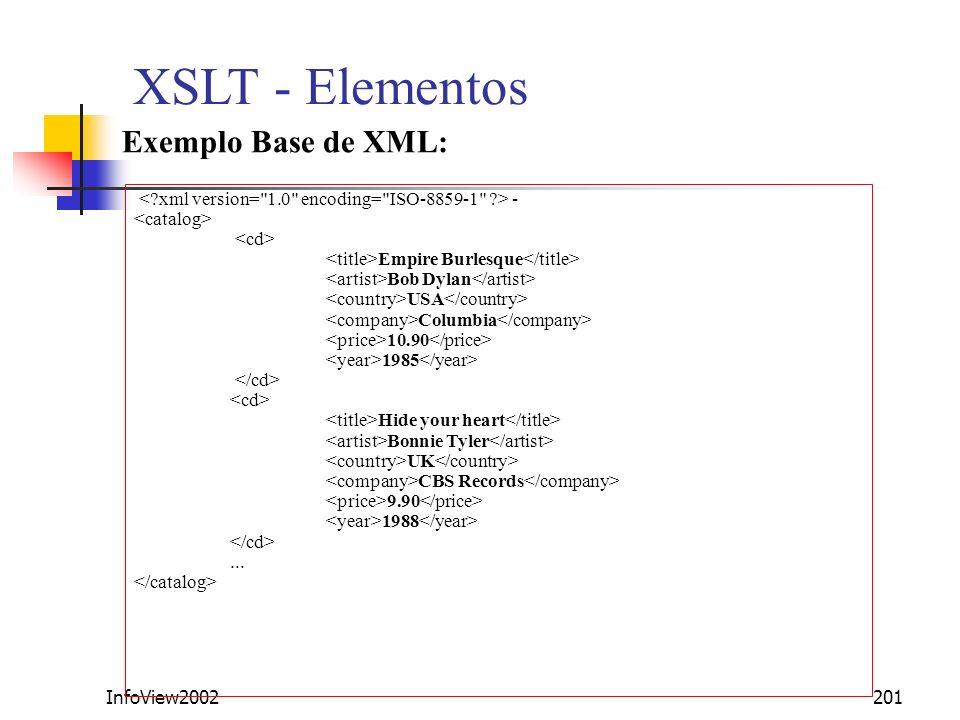XSLT - Elementos Exemplo Base de XML: