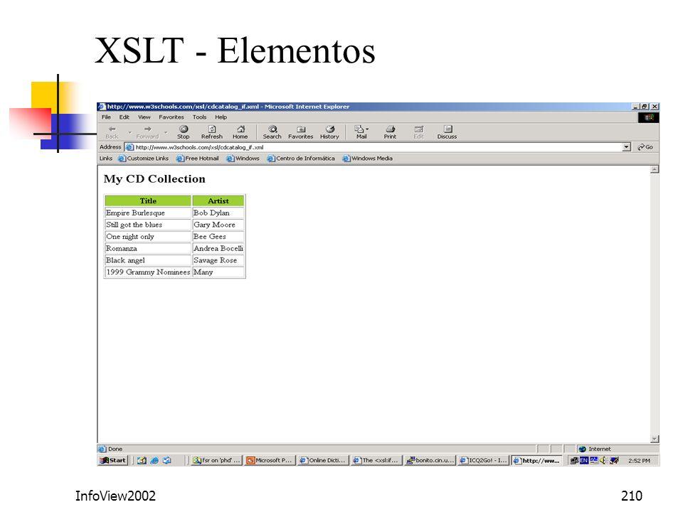XSLT - Elementos InfoView2002