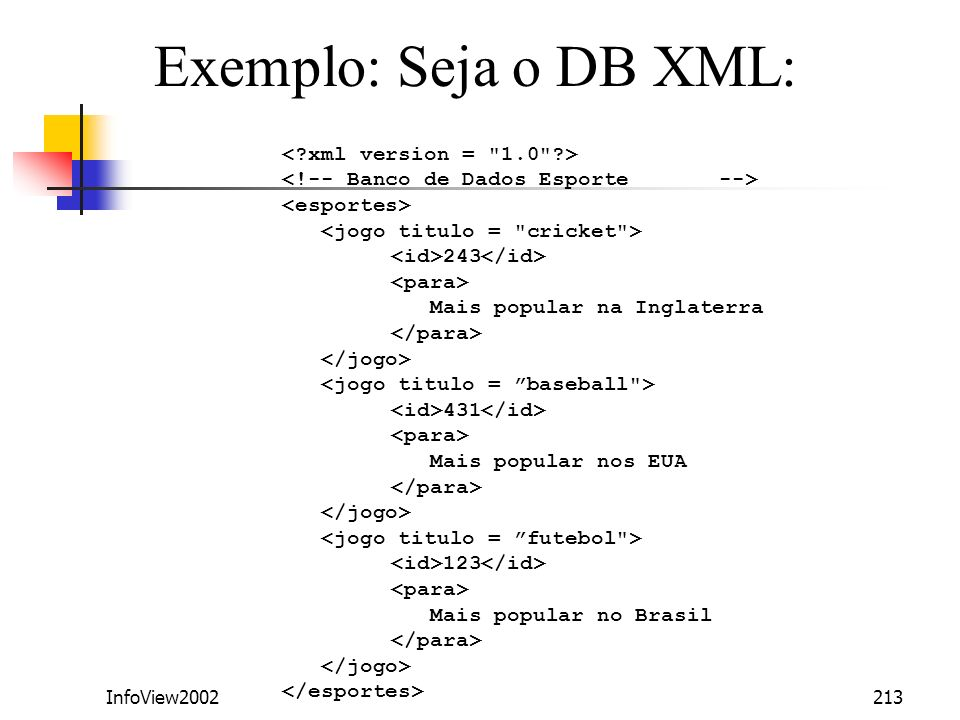 Exemplo: Seja o DB XML: < xml version = 1.0 >