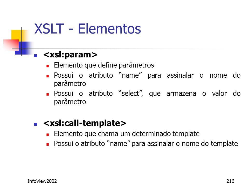 XSLT - Elementos <xsl:param> <xsl:call-template>