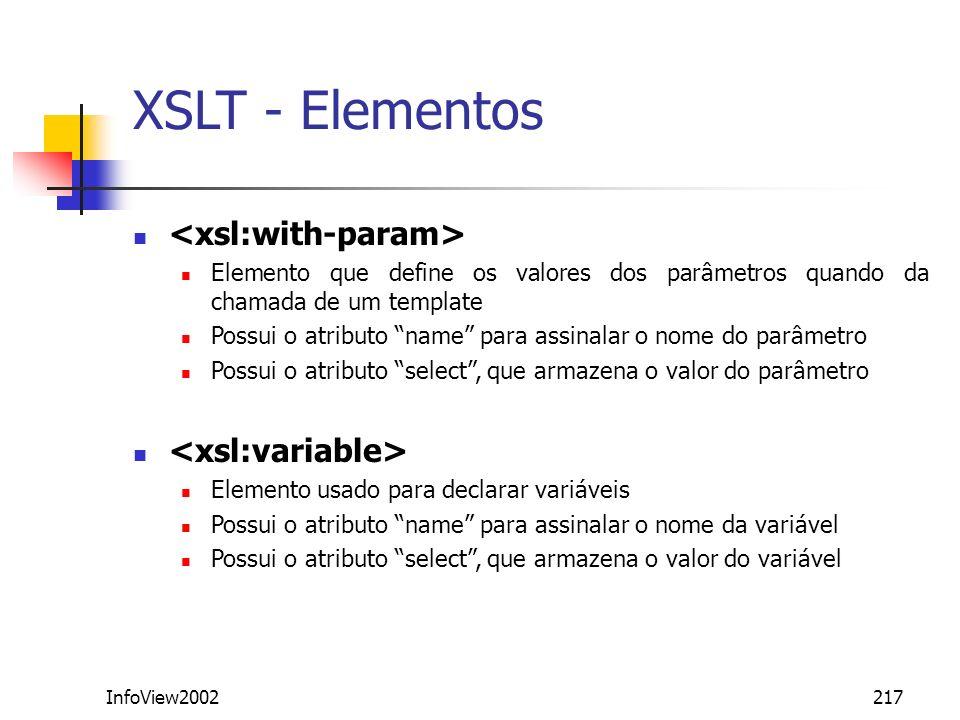 XSLT - Elementos <xsl:with-param> <xsl:variable>