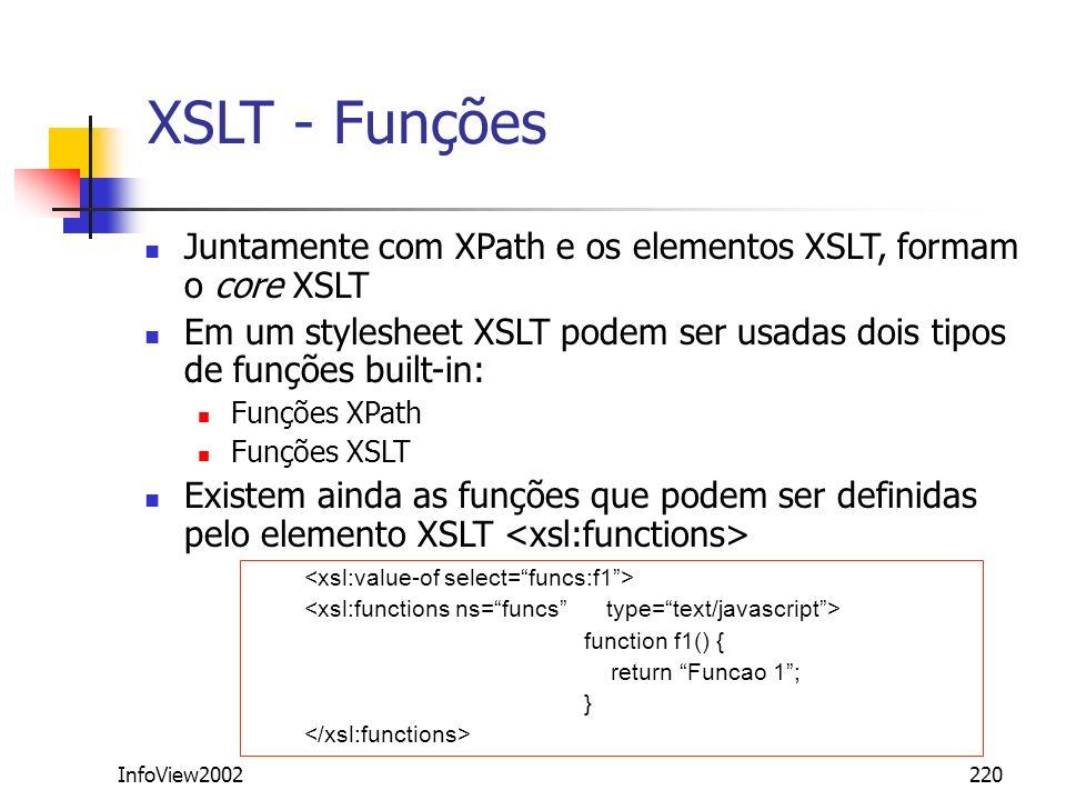 XSLT - Funções Juntamente com XPath e os elementos XSLT, formam o core XSLT. Em um stylesheet XSLT podem ser usadas dois tipos de funções built-in: