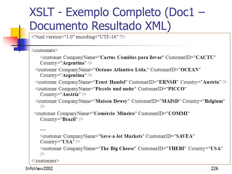 XSLT - Exemplo Completo (Doc1 – Documento Resultado XML)