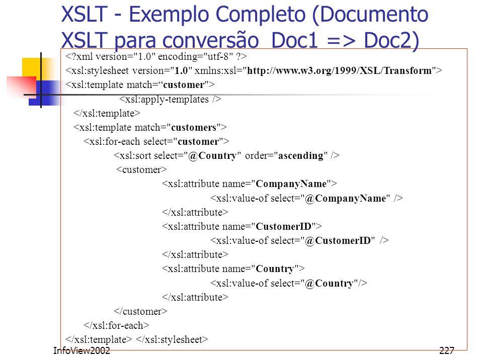XSLT - Exemplo Completo (Documento XSLT para conversão Doc1 => Doc2)