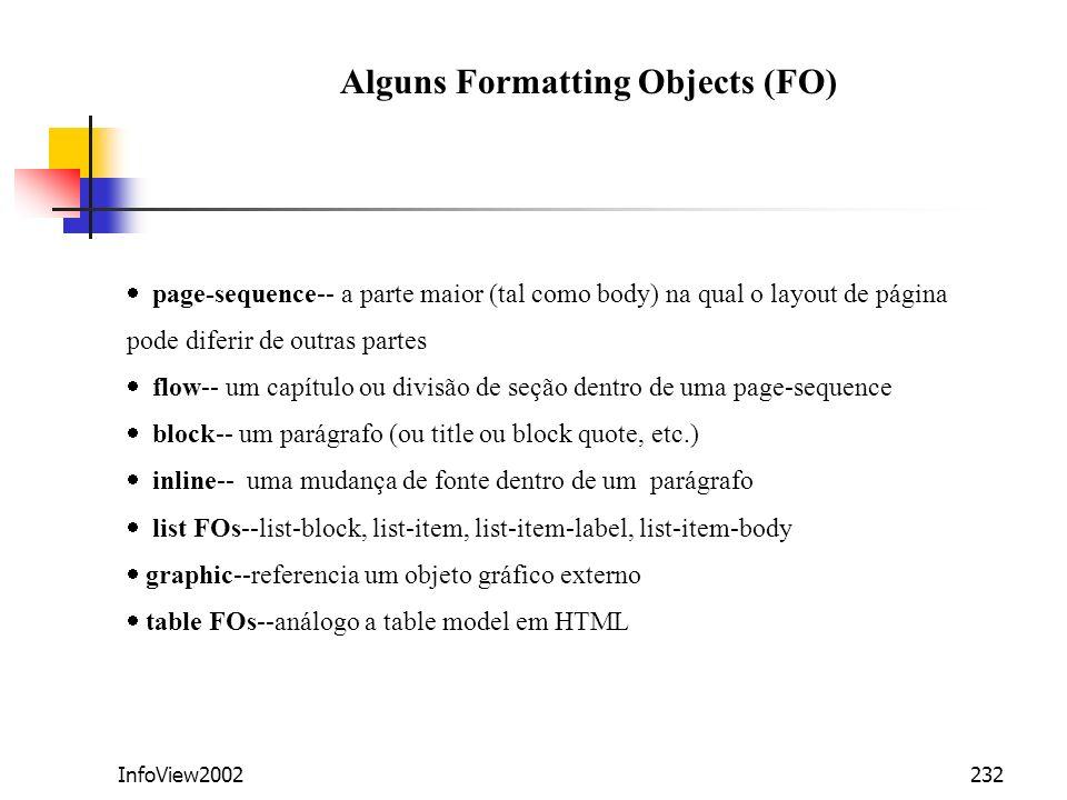 Alguns Formatting Objects (FO)