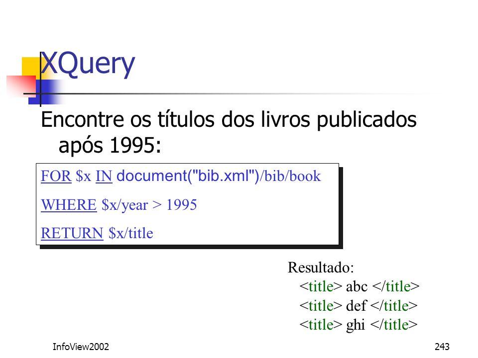 XQuery Encontre os títulos dos livros publicados após 1995:
