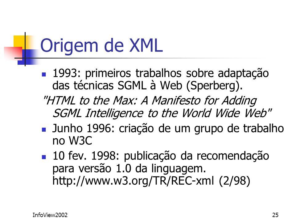Origem de XML 1993: primeiros trabalhos sobre adaptação das técnicas SGML à Web (Sperberg).