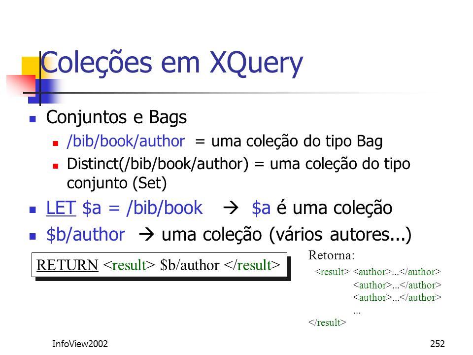 Coleções em XQuery Conjuntos e Bags