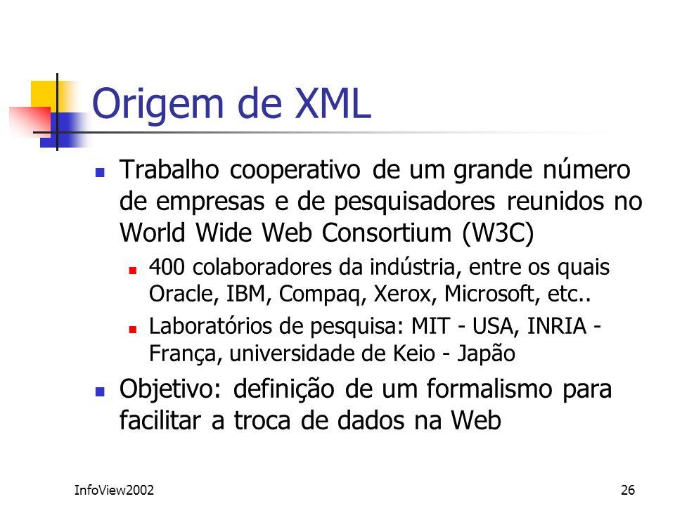 Origem de XML Trabalho cooperativo de um grande número de empresas e de pesquisadores reunidos no World Wide Web Consortium (W3C)