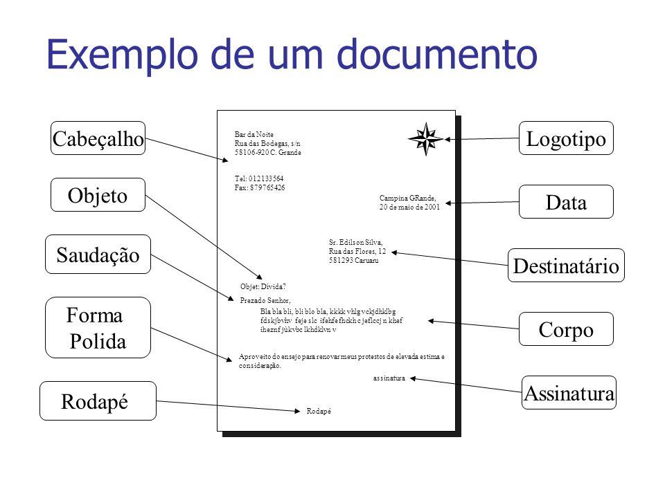 Exemplo de um documento