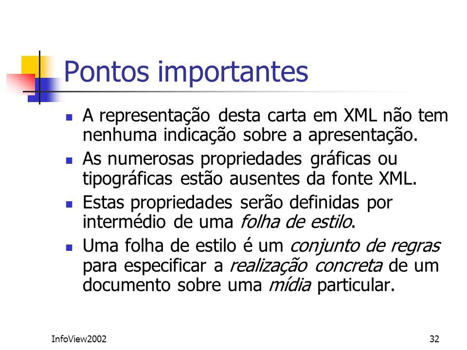 Pontos importantes A representação desta carta em XML não tem nenhuma indicação sobre a apresentação.