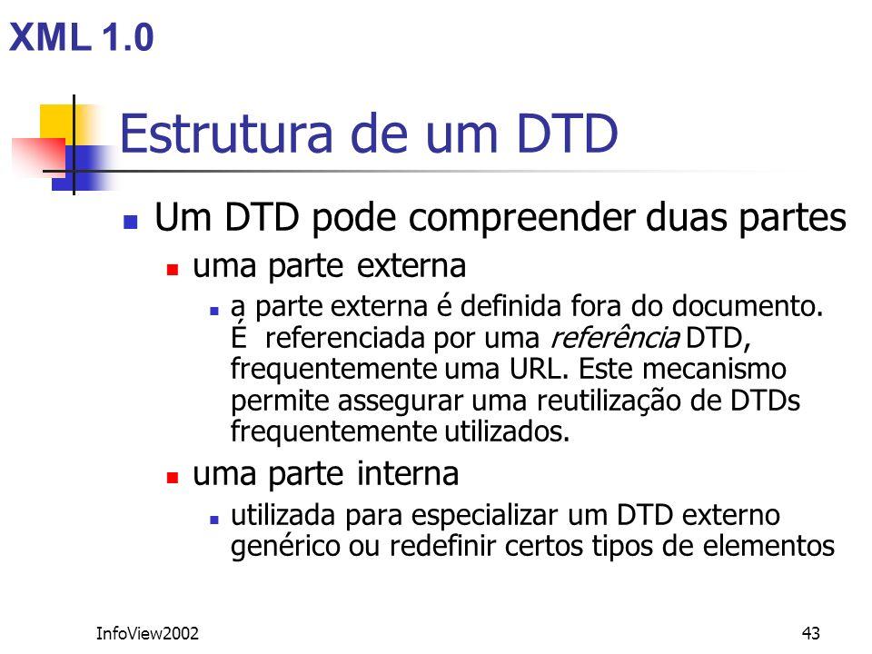 Estrutura de um DTD XML 1.0 Um DTD pode compreender duas partes
