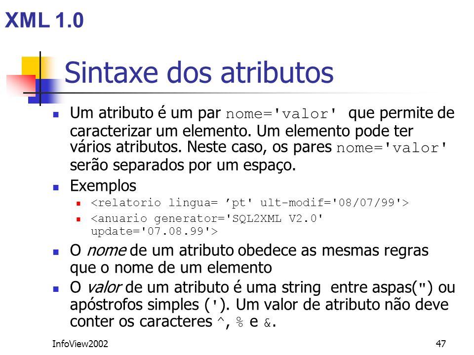 Sintaxe dos atributos XML 1.0