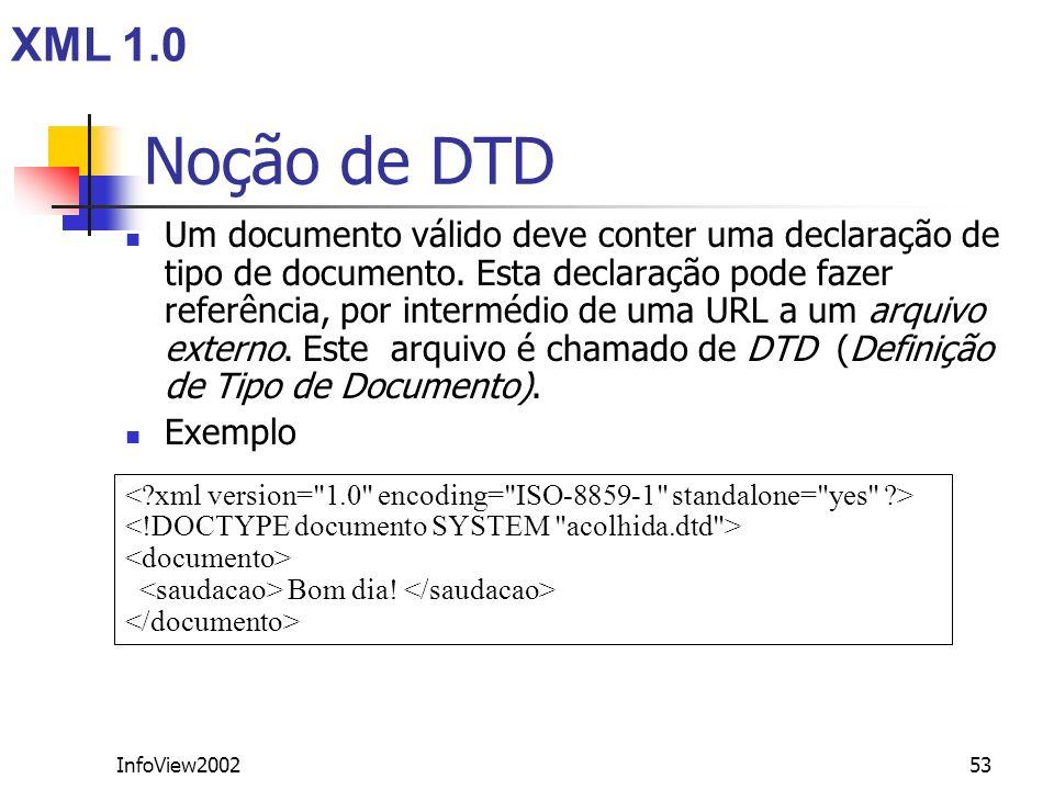 XML 1.0 Noção de DTD.