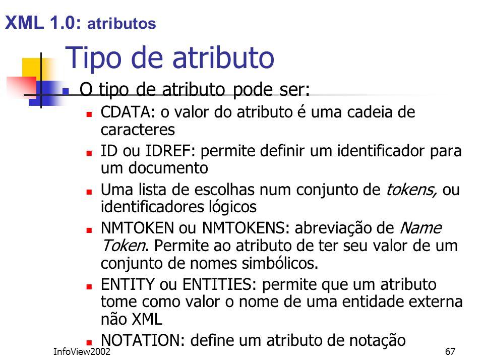 Tipo de atributo XML 1.0: atributos O tipo de atributo pode ser: