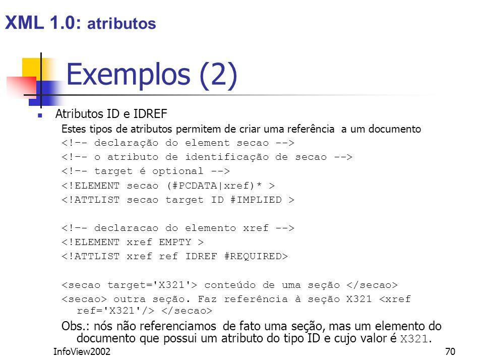 Exemplos (2) XML 1.0: atributos Atributos ID e IDREF