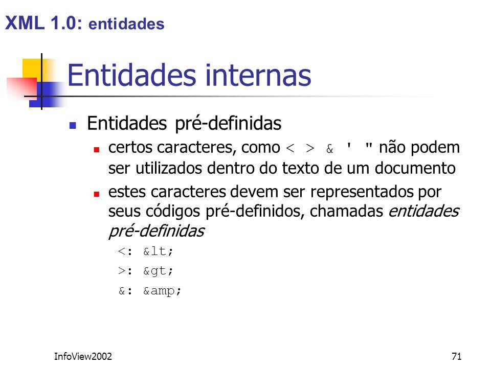 Entidades internas XML 1.0: entidades Entidades pré-definidas