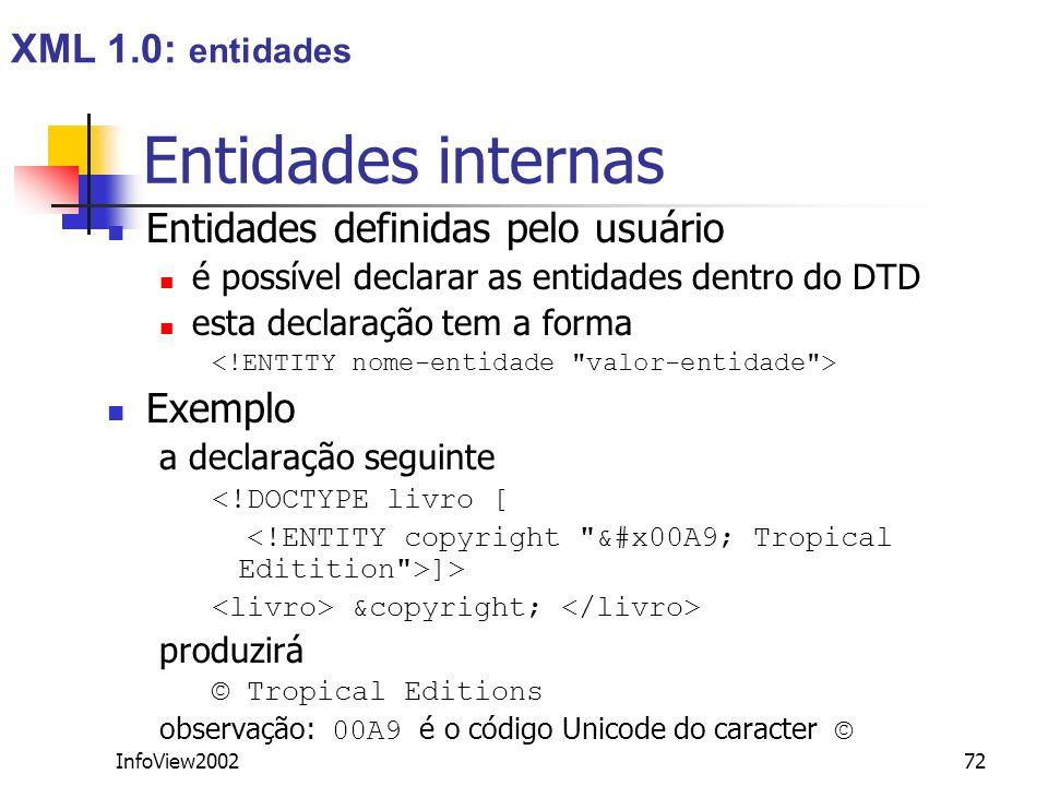 Entidades internas XML 1.0: entidades Entidades definidas pelo usuário