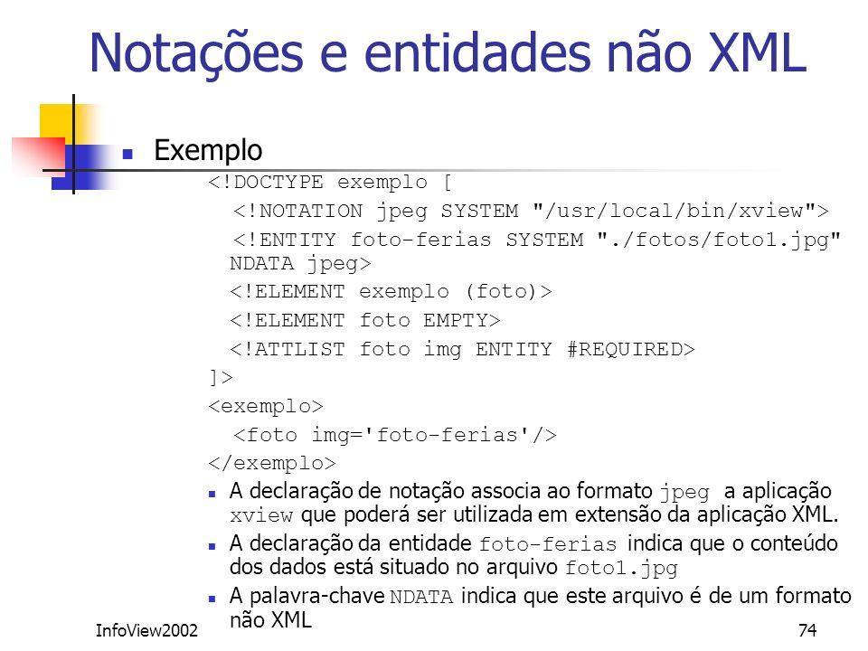 Notações e entidades não XML