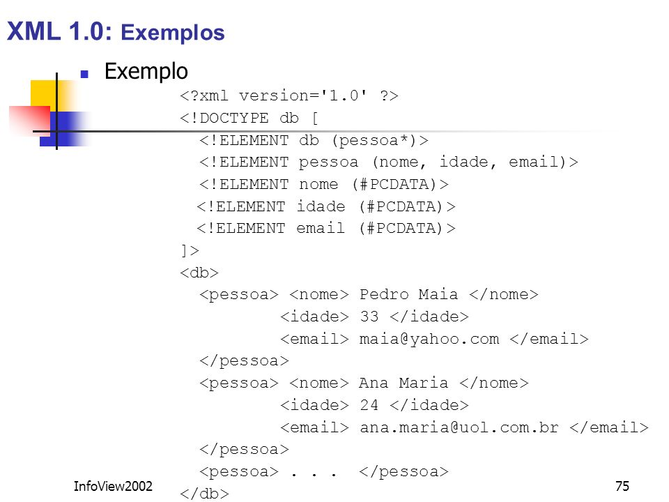 XML 1.0: Exemplos Exemplo < xml version= 1.0 >