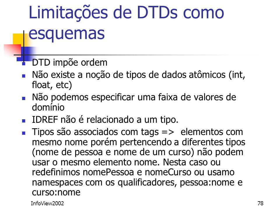 Limitações de DTDs como esquemas