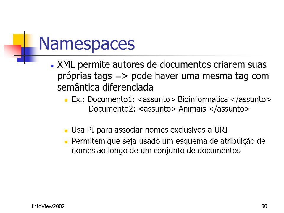 NamespacesXML permite autores de documentos criarem suas próprias tags => pode haver uma mesma tag com semântica diferenciada.
