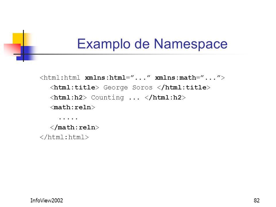 Examplo de Namespace <html:html xmlns:html= ... xmlns:math= ... > <html:title> George Soros </html:title>