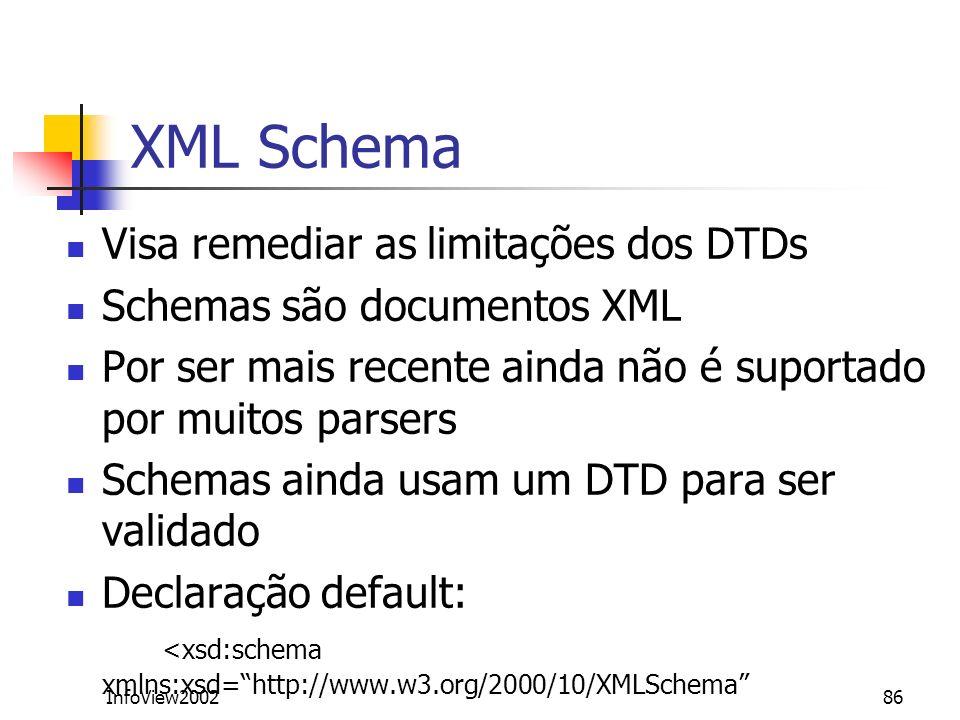 XML Schema Visa remediar as limitações dos DTDs