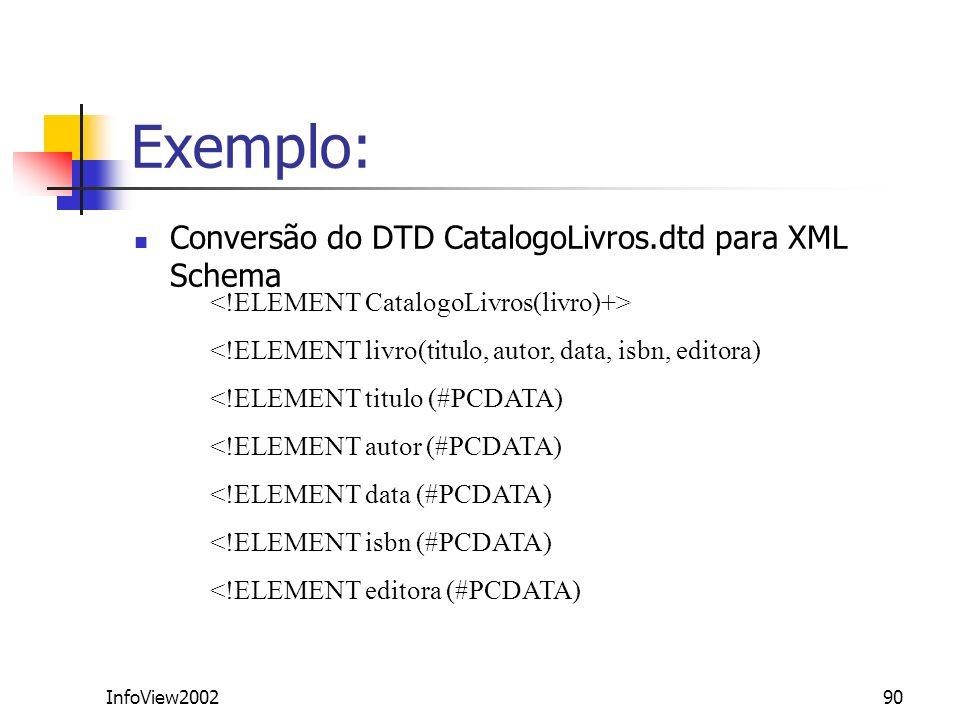 Exemplo: Conversão do DTD CatalogoLivros.dtd para XML Schema