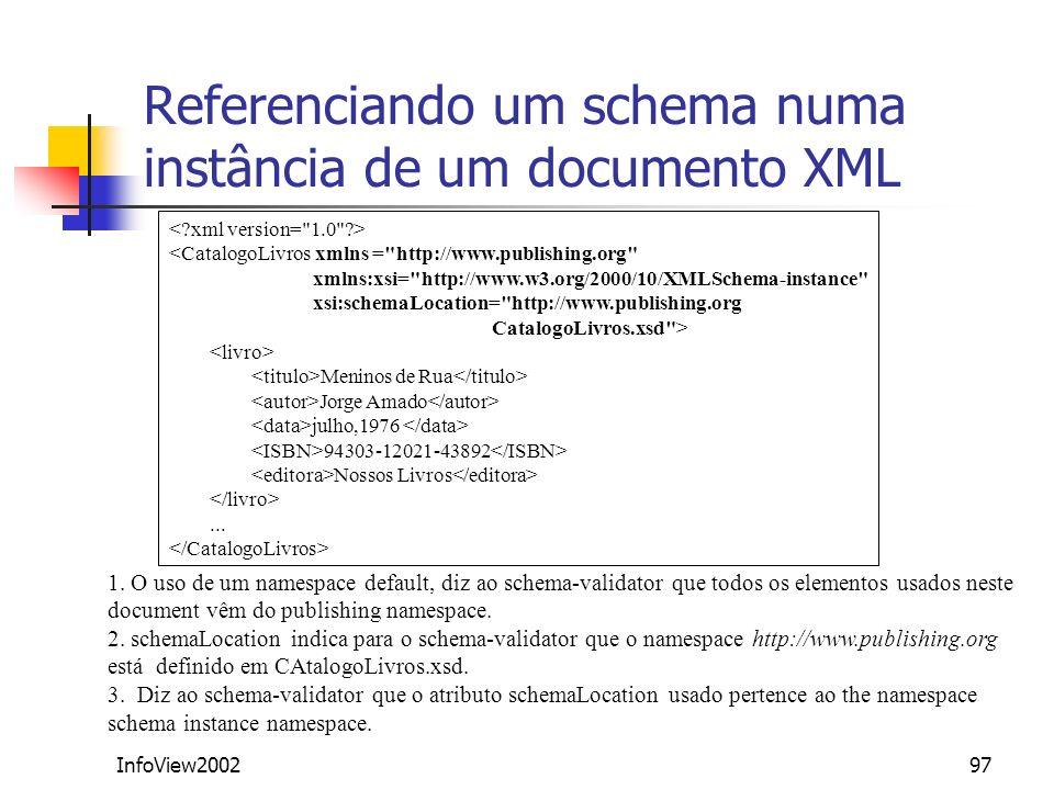 Referenciando um schema numa instância de um documento XML
