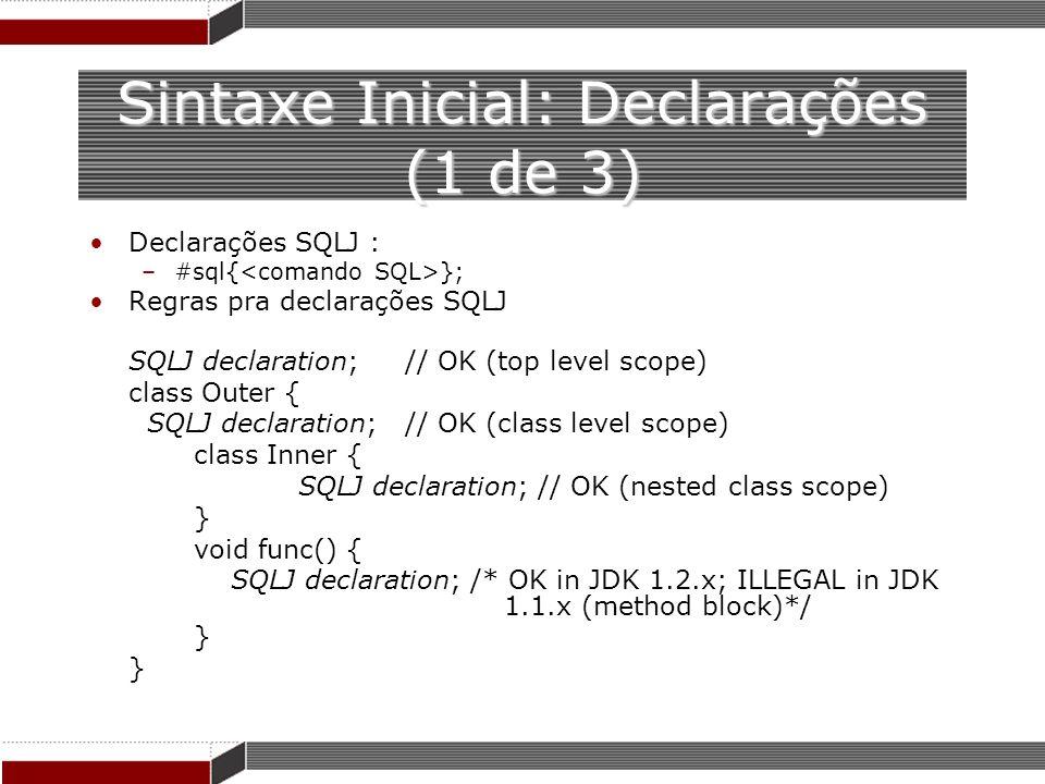 Sintaxe Inicial: Declarações (1 de 3)