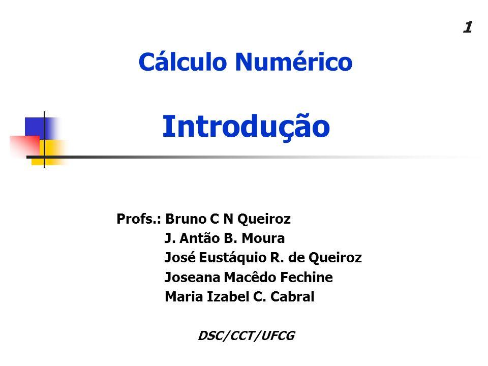 Introdução Cálculo Numérico Profs.: Bruno C N Queiroz