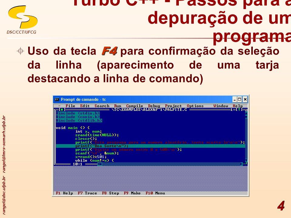 Turbo C++ - Passos para a depuração de um programa