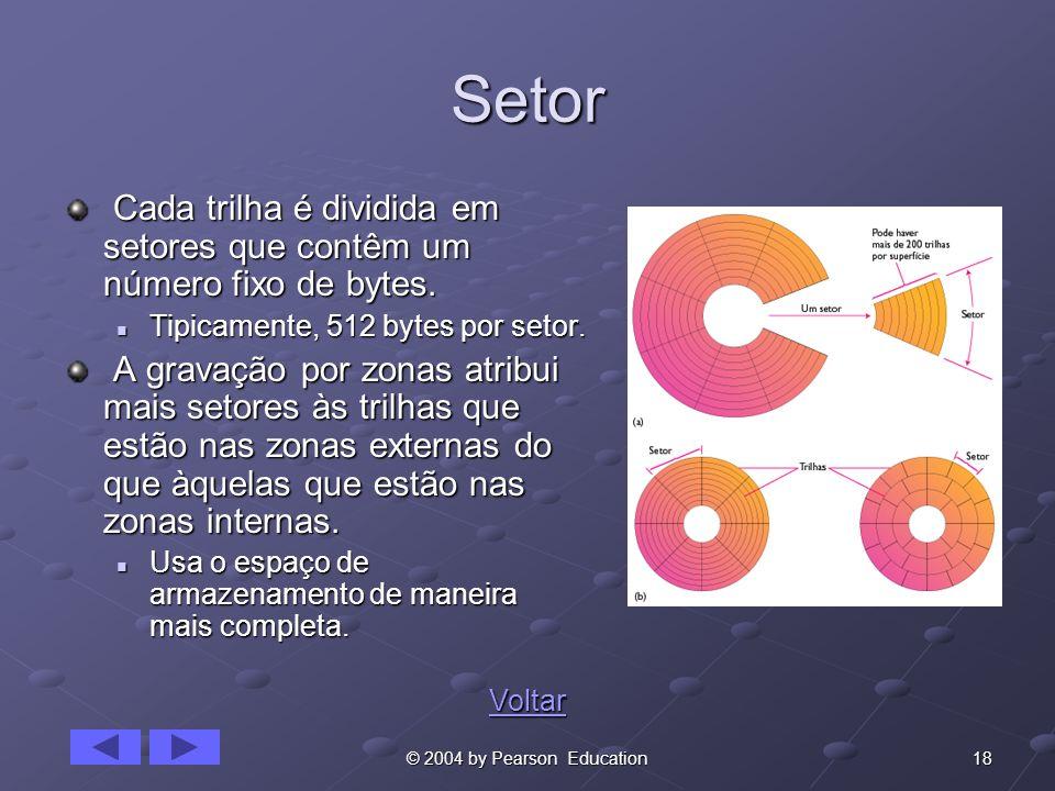 SetorCada trilha é dividida em setores que contêm um número fixo de bytes. Tipicamente, 512 bytes por setor.