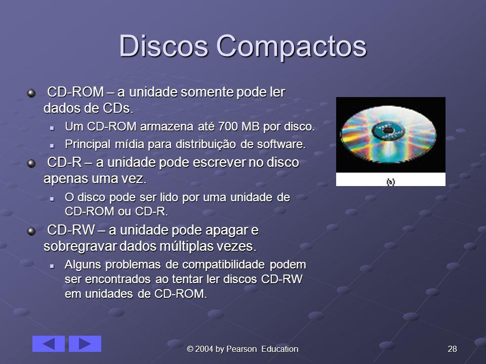 Discos Compactos CD-ROM – a unidade somente pode ler dados de CDs.