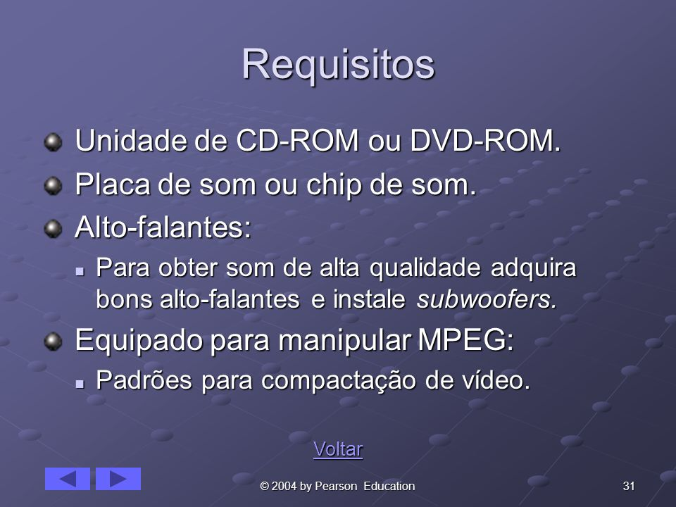 Requisitos Unidade de CD-ROM ou DVD-ROM. Placa de som ou chip de som.