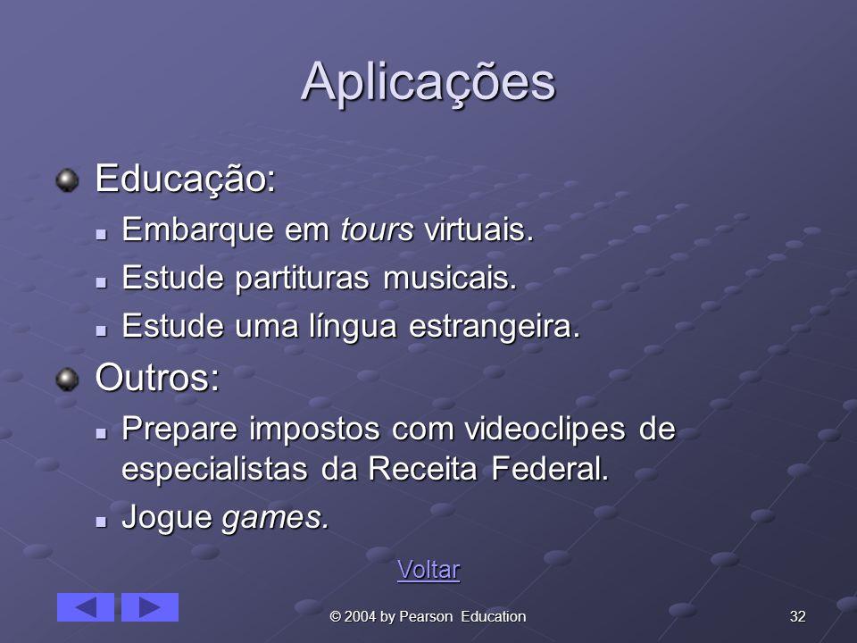 Aplicações Educação: Outros: Embarque em tours virtuais.