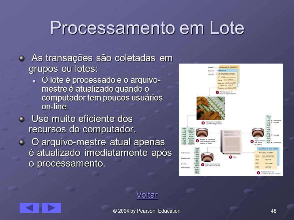 Processamento em Lote As transações são coletadas em grupos ou lotes: