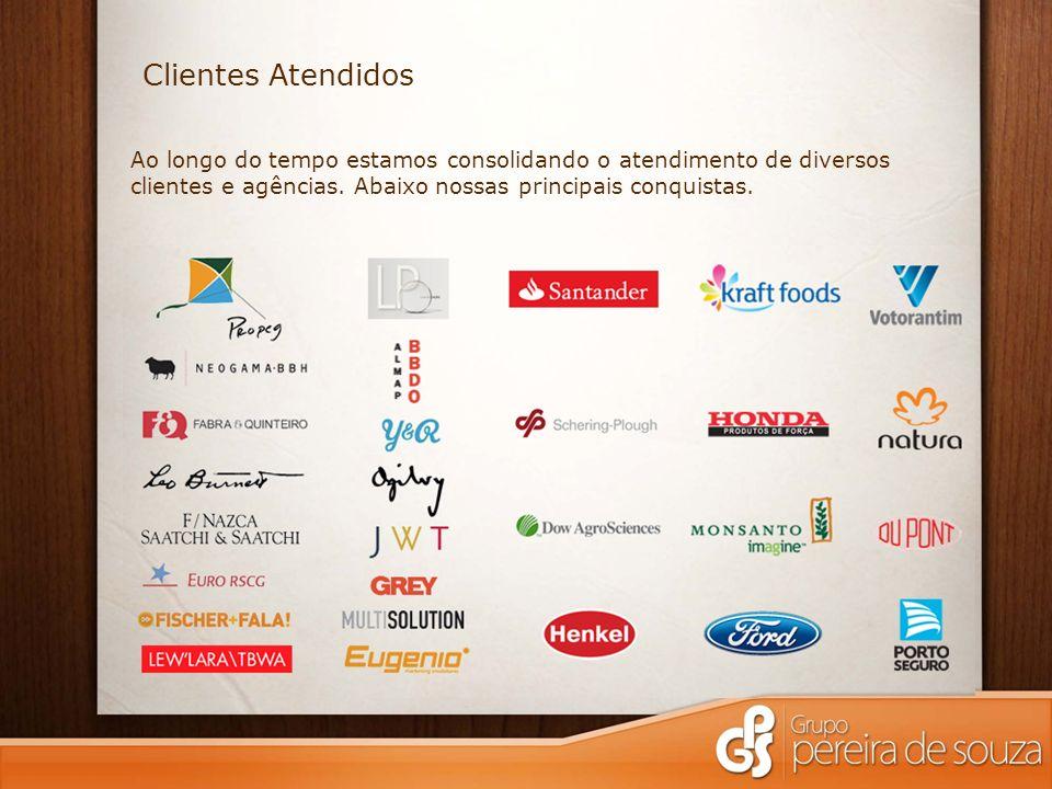 Clientes Atendidos Ao longo do tempo estamos consolidando o atendimento de diversos clientes e agências.